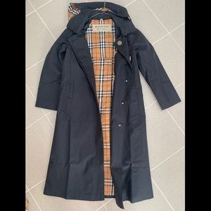 Burberry hooded black trench coat US size 2